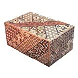 Yosegi Puzzle Box 5 sun - 21 step - This Japanese Secret / Puzzle Box is made in the Yosegi pattern. This pattern is the original traditional design used for puzzle boxes. Every box is a little different in design depending upon how the pieces are ap...