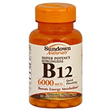 Sundown Naturals Vitamin B12, Super Potency, Sublingual, 6000 mcg, Tablets, 30 ct.