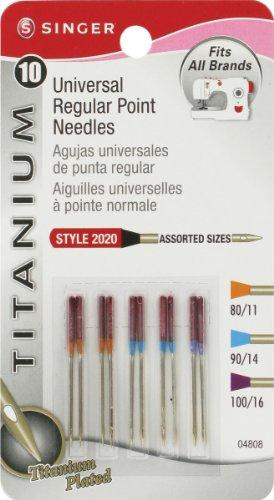 Singer Notions titanio aghi universali a punta normale per macchine per tessuti, misure assortite, 10 pezzi