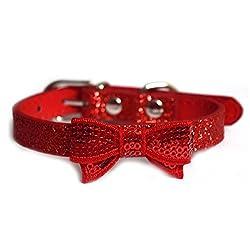 Pawzone Sparkling Glitter Cat Collar-Red