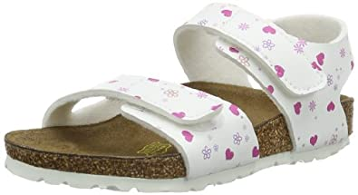 Birkenstock Kids  BARI      BF, sabots et mules mixte enfant - Blanc - Lovely Pattern White, 1 UK Child Narrow