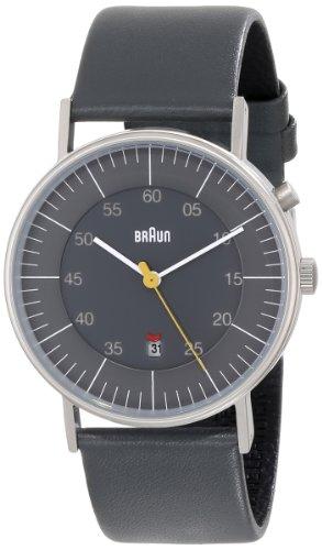 Braun Men's Quartz 3 Hand Movement Watch with Leather Strap
