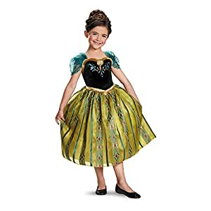 Disguise Disneys Frozen Anna Coronation Gown Deluxe Girls Costume, X Small/3T 4T