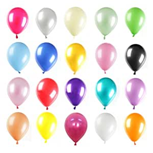GOGO 100 Pcs 12 Inch Pearl Latex Balloon, Mixed Colors, Party Favors