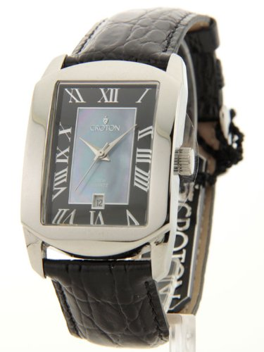Mens Croton Black Croc-Look Leather MOP Date Watch CN307408SSBK