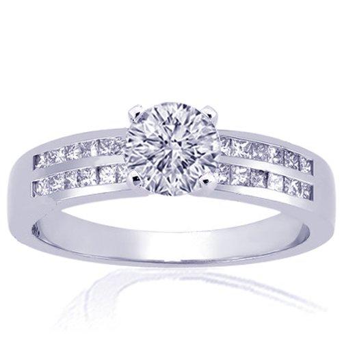 1.30 Ct Round Cut Diamond Engagement Channel-Set