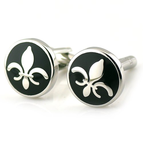 Sirius Jewelry Men'S Cuff Links Fleur-De-Lis Stainless Steel & Black Enamel Cufflinks With Nice Gift Case