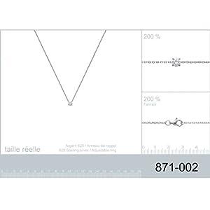 Collier en Argent 925/000 et Oxyde de Zirconium - Chaîne avec Pendentif : Strass, Brillant Blanc avec 4 griffes - Bijoux Femme