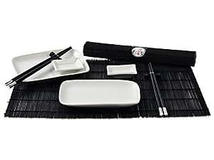 """Japan Style """"weiß/schwarz"""" Sushi Ess-Service , 2 Personen"""