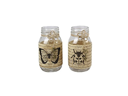 Young's 2 Piece Mason Jar Candle with Burlap Wrap Set, 7