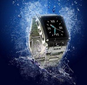 Waterproof Stainless Steel Touch Screen Unlocked Mobile Phone Wrist Watch Hidden Camera Bluetooth Java