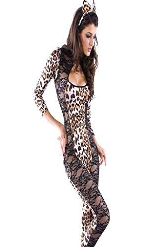 Soyagift Women's Sexy Lingerie Leopard Print with lace Catsuit Costume Suit(SCL012)-Small