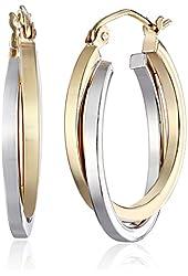 14k Gold Two-Tone 3.8mm Twisted Hoop Earrings