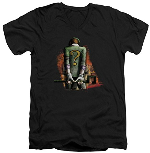 Batman Arkham City Riddler Convicted Slim Fit V-Neck T-Shirt