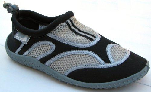 Aquatik Men and Women Aqua Water Shoes Beach Shoes with Drawstring closure AD2352L Women 8 Black