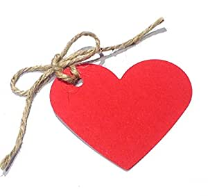 .com: 10 Red Heart Shaped Gift Tags / Hang Tags / Wedding Favor Tags ...