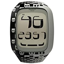 Swatch Touch Skull Digital Black Silicone Unisex Watch SURB101