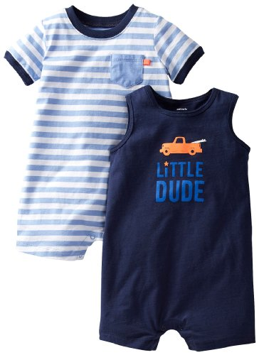 Carter'S Baby Boys' 2 Pack Pocket Rompers (Baby) - Blue - 12 Months front-177016