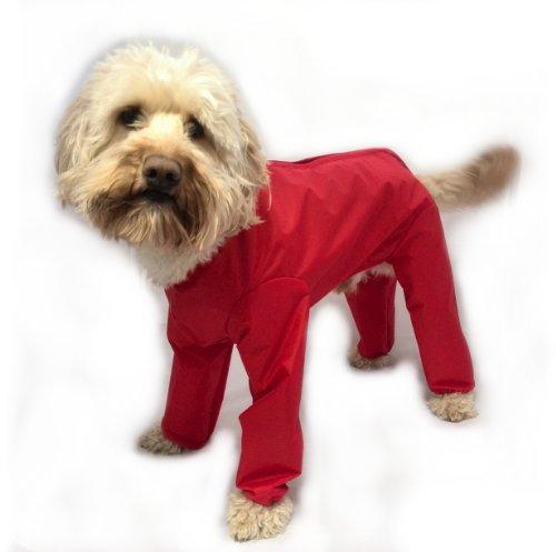 16 inch Trouser Suit Waterproof Dog Rain Coat Onesie Green
