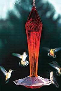 Schrodt FGHF-R Ruby Faceted Glass Hummingbird Feeder