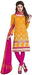 Manmauj Women's Cotton Unstitched Dress Material (MM10024DFNT, Orange)