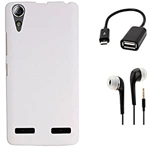 Tidel Stylish Rubberized Plastic Back Cover For Lenovo A6000 Plus (White) With 3.5mm Handsfree Earphone & Micro OTG Cable