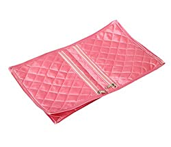 Kuber Industries Quilted Satin Lingerie Cover / Undergarments Kit / Multipurpose Kit (Pink)