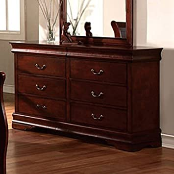 Louis Phillipe II Solid Wood Cherry Finish Bedroom Dresser