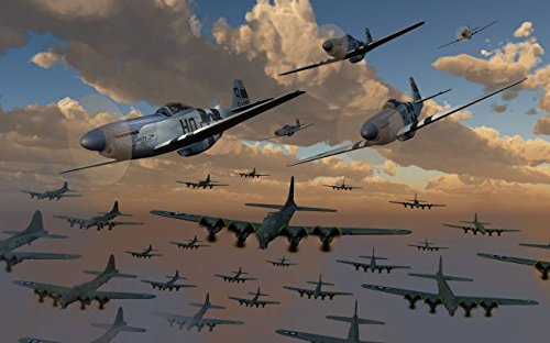 B-17 Flying Fortress bombers and P-51 Mustangs in flight. 32 x 48 Poster