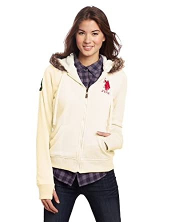 US Polo Assn. Juniors Fleece Hoody With Sherpa Lining, Coconut Cream/Pink, Small