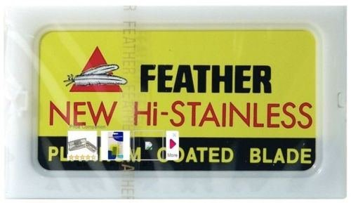10 FEATHER Hi-Stainless Platinum Coated Double Edge Razor Blades - Made in Japan (Panasonic Sharpener 4 compare prices)