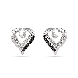 Platinum Plated Sterling Silver Black and White Round Diamond Heart Earrings (1/10 CTTW)