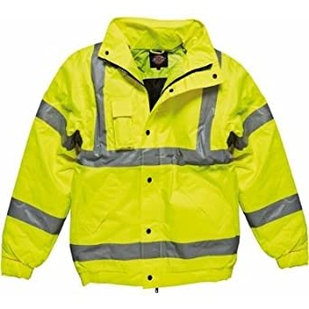 Dickies High-Visibility Bomber Jacket / Mens Workwear (L) (Hi-Vis Yellow)