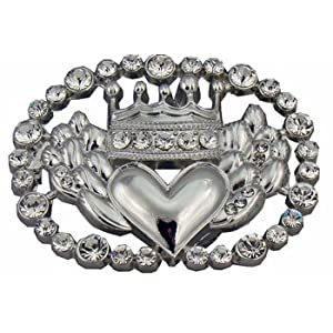 Gorgeous Western Bling Belt Buckle for Women with Crown and Heart Design