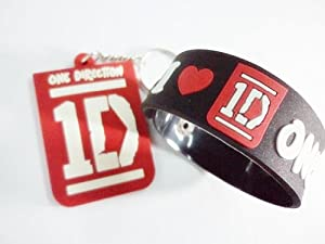 2x 1d One Direction Music Rubber Wristband Bracelet Keychain Key Fob Ring