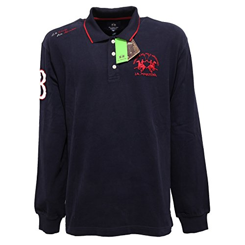 7016Q polo uomo LA MARTINA REGULAR FIT cotone blu/rosso t-shirt men [S]