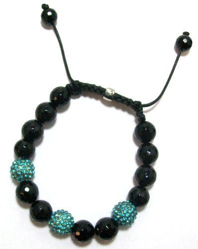 Just Give Me Jewels Yoga Style Turquoise Pave Crystal and Black Faceted Onyx Ball Bracelet