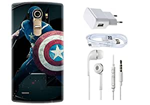 Spygen LG G4 Case Combo of Premium Quality Designer Printed 3D Lightweight Slim Matte Finish Hard Case Back Cover + Charger Adapter + High Speed Data Cable + Premium Quality Handfree