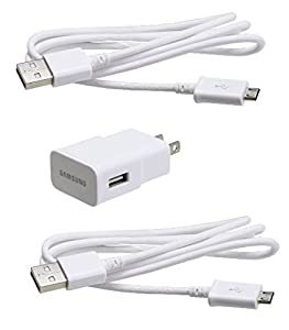 10 Pack Samsung OEM 2 Amp Adapter 5-Feet (2) Micro USB Data Sync Charging Cables for Galaxy S2/S3/S4 - White