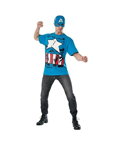 Marvel Classic Captain America Mens T?shirt and Mask Set