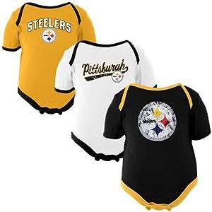 NFL Pittsburgh Steelers born 3-Piece Creeper Set - Gold/White/Black