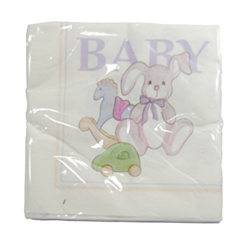 "The Cindus Collection 12in ""Baby Toys"" Luncheon Napkins Baby Showers Parties - PURPLE Letter Design"