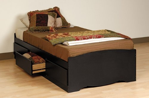 Sonoma Black Finish Twin Size Platform Bed w/3 Storage Drawer