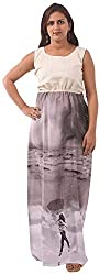 New Pinch Trends Women's Crepe Sleeveless Kurti (NPTAV-WhiteGreyCrepeGown1009_L, Grey, Large)