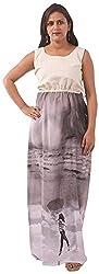 New Pinch Trends Women's Crepe Sleeveless Kurti (NPTAV-WhiteGreyCrepeGown1009_S, Grey, Small)