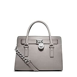 Michael Kors Hamilton Saffiano Leather E/w Satchel Pearl Grey