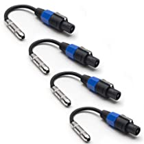 """Seismic Audio - 4 Pack - 1/4"""" TS Female to Speakon Adapter Patch Speaker Cable"""