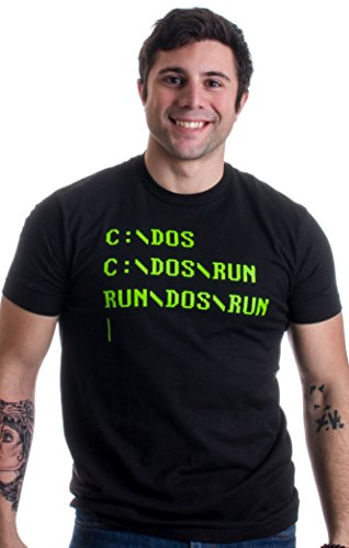 RUN DOS RUN | Funny Nerd, IT Geek, Computer Engineer Humor Unisex T-shirt-(Adult,XL)