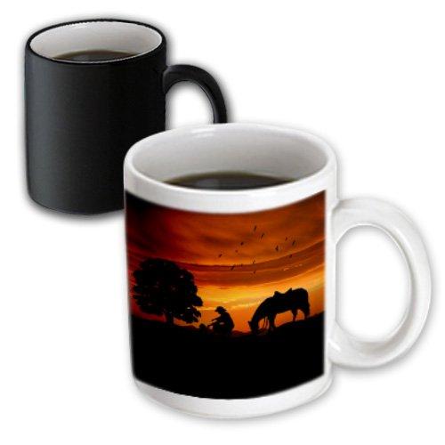 Mug_173217_3 Doreen Erhardt Western - Cowboy Campfire With Horse On A Hill At Sunset Has A Western Feel. - Mugs - 11Oz Magic Transforming Mug