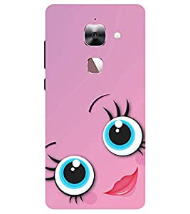 Chiraiyaa Designer Printed Premium Back Cover Case for Letv Le 2 (smiley girl pink lips) (Multicolor)